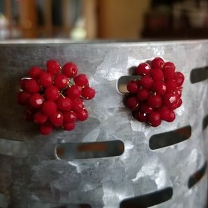 Red Berry Bead Cluster Earrings